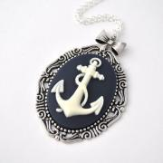 Anchor necklace, Nautical Necklace, bow necklace, Anchor Cameo Neckace, Anchor Jewelry, Nautical Accessory, long necklace