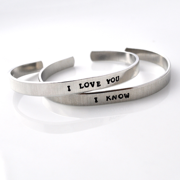 Personalized Metal Cuff Bracelet Custom Aluminum Hand Stamped I Love You On Luulla