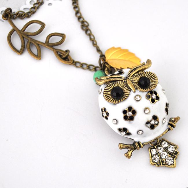 white owl necklace antique bronze necklace vintage style leaf necklace long necklace
