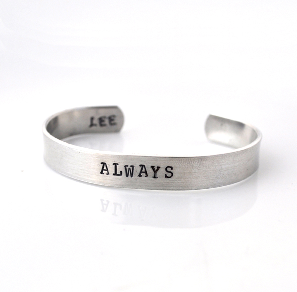 Personalized metal cuff bracelet, custom bracelet, aluminum cuff hand stamped bracelet, ALWAYS, class of 2012 class of 2012 Graduation