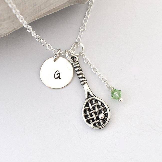 Tennis necklace birthstone initial necklace monogram racket tennis necklace birthstone initial necklace monogram racket racquet charm sport jewelry personalized necklace tennis team aloadofball Images