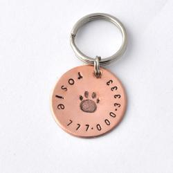 Small pet id tags copper with paw print, small dogs, small cats, x-small pets by ZADOO
