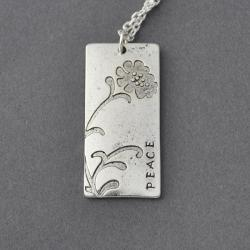 Oxidized silver tone flower bloom rectangle necklace, hand stamped personalized necklaces, custom hand stamped necklace by ZADOO