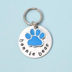Paw Print blue or pink Custom Pet id tag