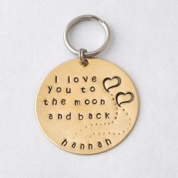 GIFT Key chain- I love you to the moon and back custom gift personalized key ring mother's day gifts, gift for lover by jewelmango