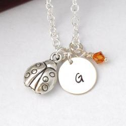 Initial Necklace Silver ladybug Charm Personalized Initial Necklace cute 3D lady bug monogram jewelry